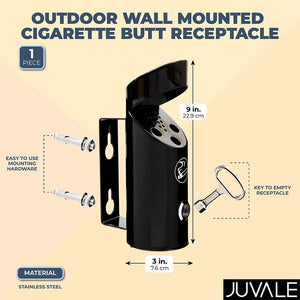Juvale Outdoor Wall Mounted Cigarette Butt Receptacle (9 in,
