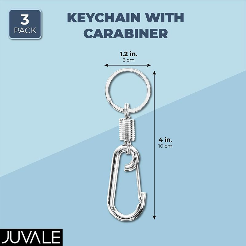 Keychain Clip with Carabiner, Stainless Steel (4 Inches, 3 Pack)