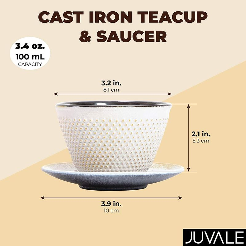 White Cast Iron Tea Cup and Saucer (100ml, 3.38 oz)