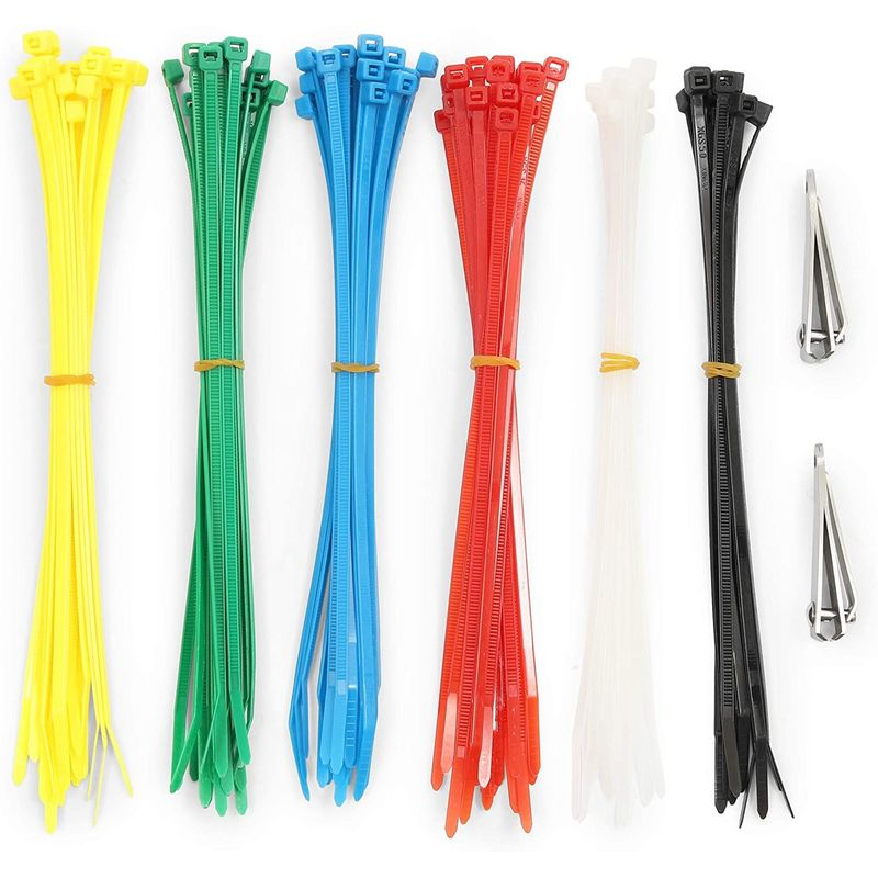 Multicolor Zip Cable Ties with Clippers for Luggage (7.7 in,