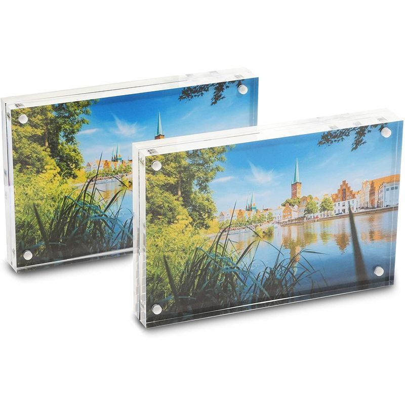 Juvale Magnetic Acrylic Picture Frame for 4 x 6 Inch Photos (2 Pack)