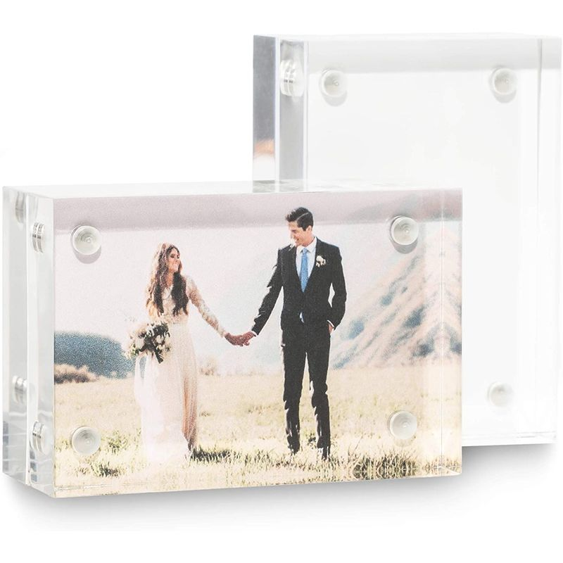 Juvale Magnetic Acrylic Picture Frame for 2 x 3 Inch Photos (2 Pack)