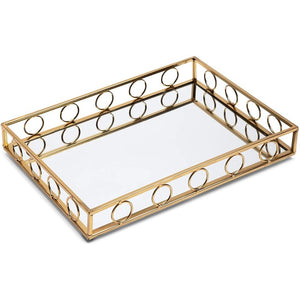 Juvale Gold Metal Mirror Tray (15 x 11 x 2 Inches)