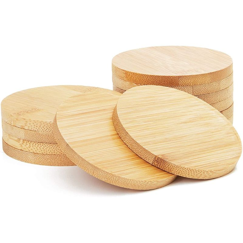 Juvale Round Bamboo Coasters Set (12 Pack)