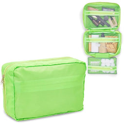 Travel Cosmetic Bag, Green Makeup Organizer 9.75 x 6.25 In)
