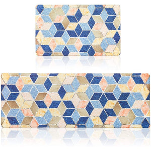 Cushioned Anti Fatigue Kitchen Mats in Diamond Pattern, 2 Si