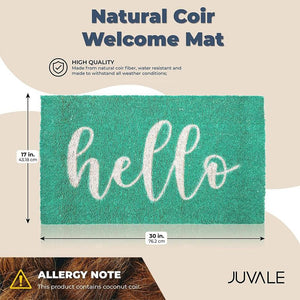 Juvale Natural Coir Welcome Mat, Hello Doormat (30 x 17 Inch