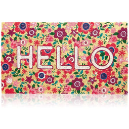 Juvale Natural Coir Welcome Mat with Flowers, Floral Hello D