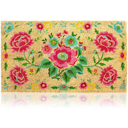 Juvale Natural Coir Doormat, Flower Welcome Mat (30 x 17 in)