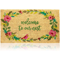 Juvale Natural Coir Doormat, Welcome to Our Nest Mat (30 x 1