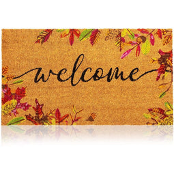 Juvale Natural Coir Welcome Door Mat, Autumn Leaves (30 x 17