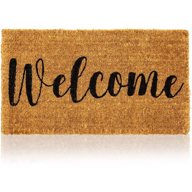 Natural Coir Doormat, Welcome Mats for Front Door (30 x 17 In)