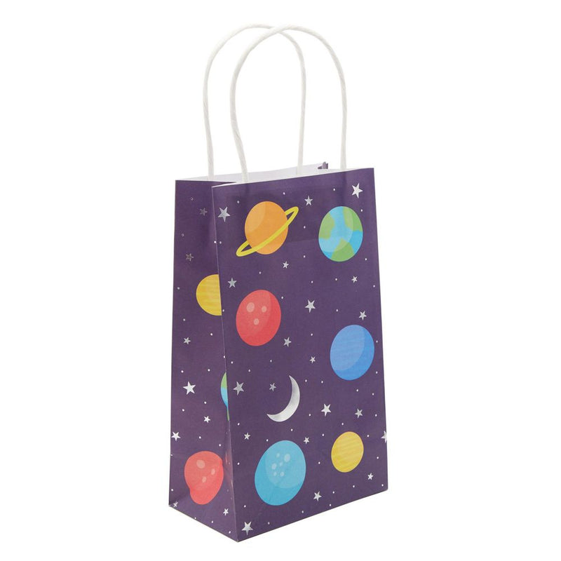 Small Outer Space Party Favor Gift Bags with Handles for Galaxy Birthday (24 Pack)