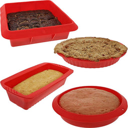 Nonstick Silicone Bakeware, Baking Set (Red, 4 Pieces)