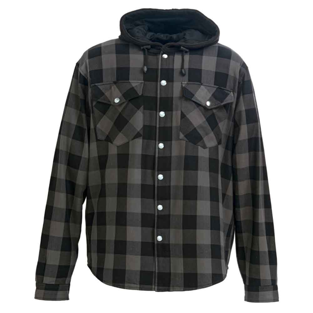 Motorbike Motorcycle Lumberjack Kevlar Shirt Fully Protected with Removable CE Armoured Premium Quality Flannel 2 Colors All Sizes Gray and Black, 2XL