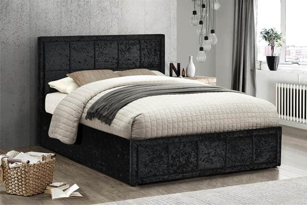 Hannover Fabric Black Crushed Velvet Bed Frame