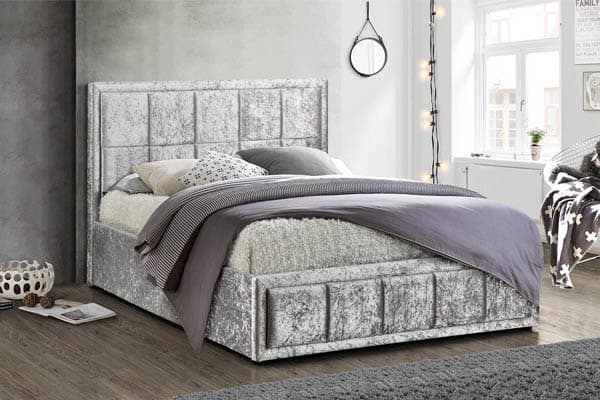 Hannover Fabric Steel Crushed Velvet Bed Frame
