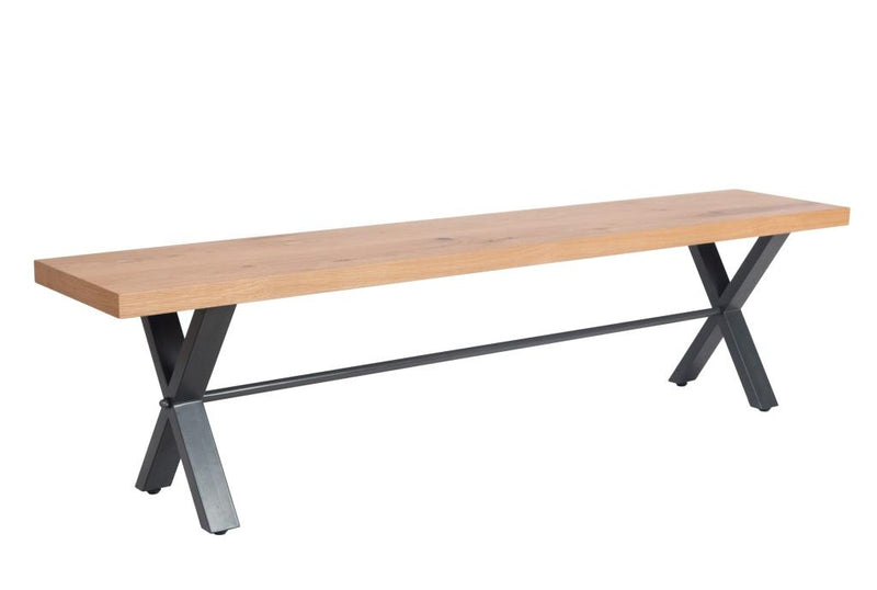 Retro Oak And Metal Large Bench (180cm)
