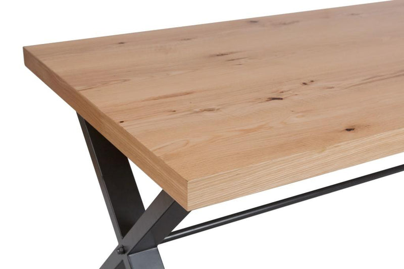 Retro Oak and Metal Large Dining table (180cm)