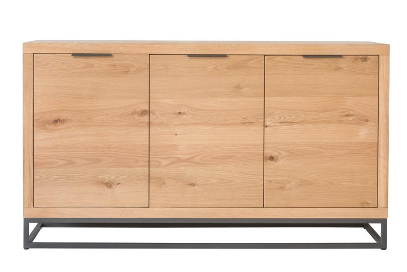 Retro Oak and Metal 3 Door Sideboard