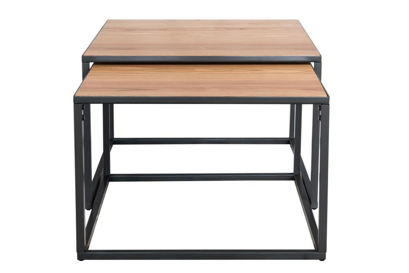 Retro Oak and Metal Square Coffee Nest Tables