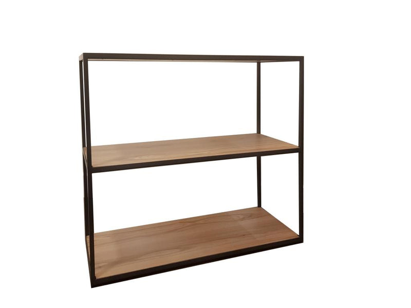 Retro Oak and Metal Small Bookcase