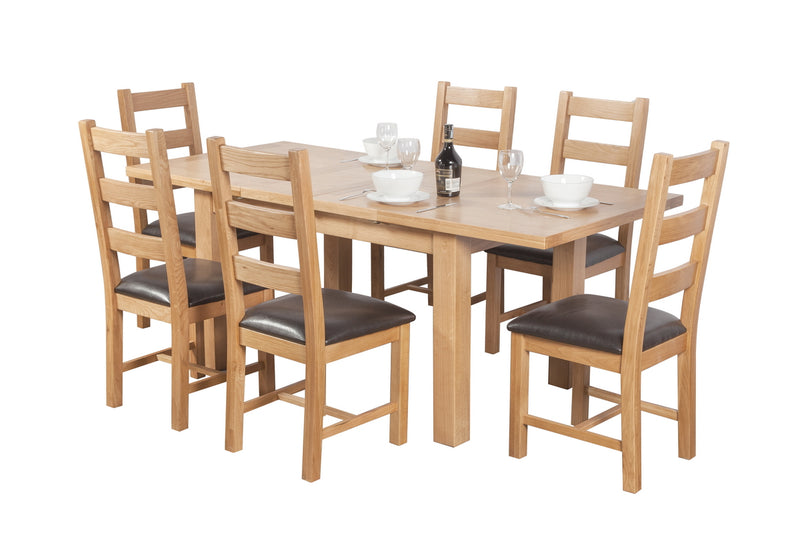 Oak Medium Extending Dining Table + 6 Ladder Back Chair Set