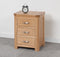 Lothian Oak 3 Drawer Bedside Cabinet