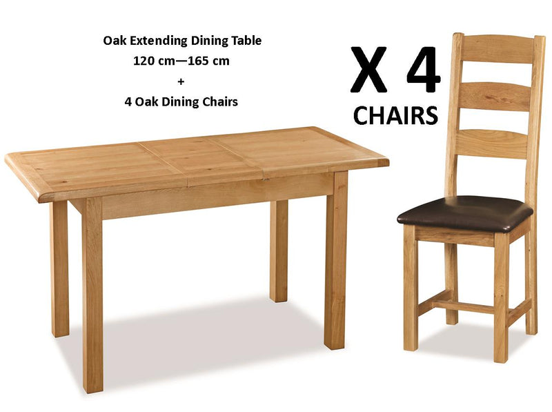 Oak Compact Extending Dining Table + 4 Oak Dining Chairs