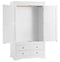 Seville White 2 Door 2 Drawer Wardrobe
