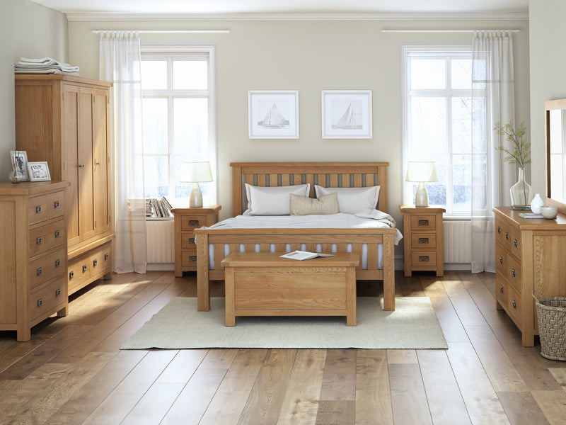 Salisbury Oak Slatted 5' King Size Bed Frame