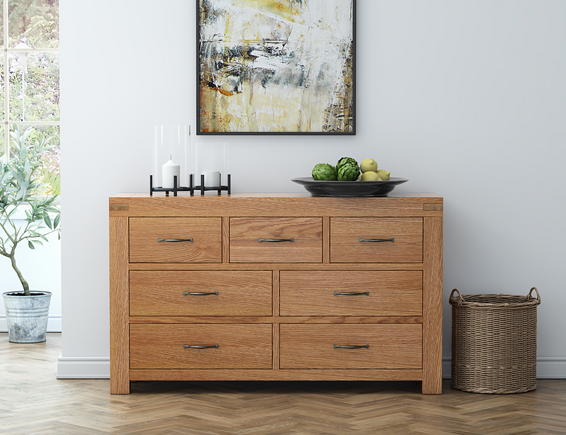 Sherwood Oak 3 over 4 Wide Chest of Drawers