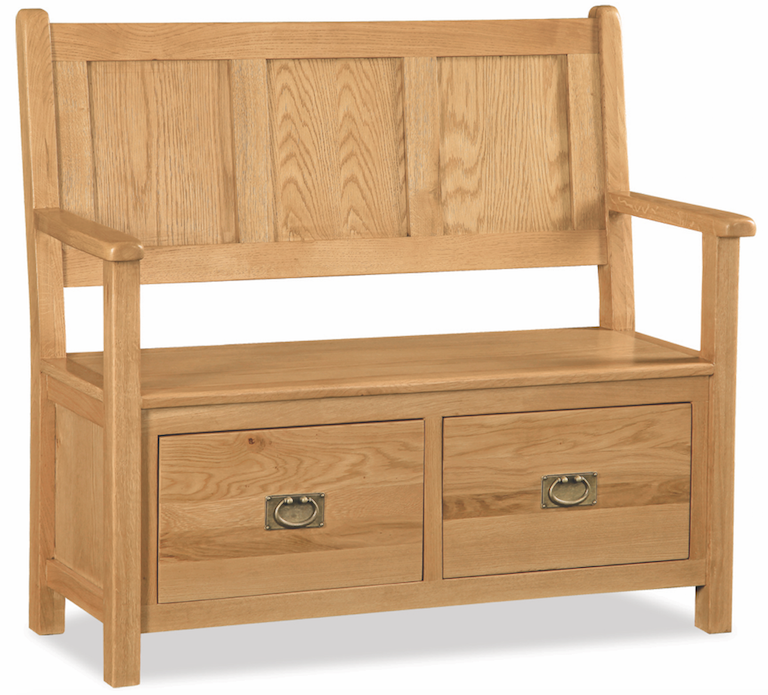Salisbury Oak Monks Bench With Storage Drawers