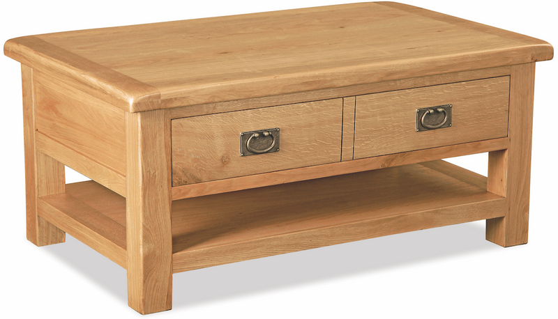 Salisbury Oak Large Coffee Table with Drawer and Shelf