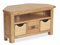 Salisbury Oak Corner TV Unit with Wicker Baskets
