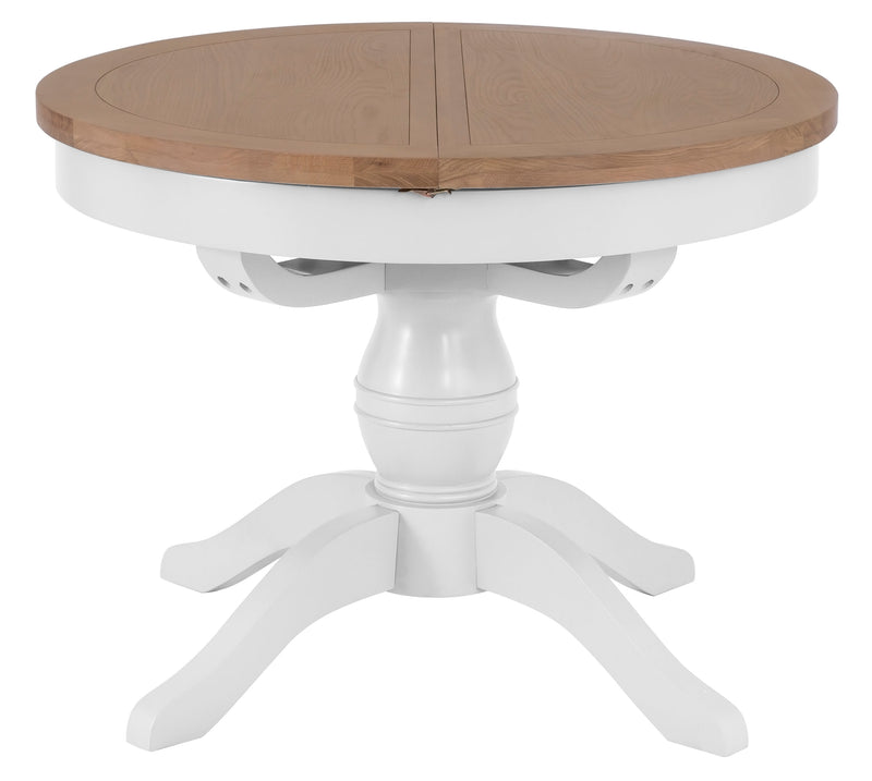 St Ives Hand-Painted White Round Butterfly Extending Table
