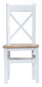 St Ives Hand-Painted White Cross Back Chair with Wooden Seat
