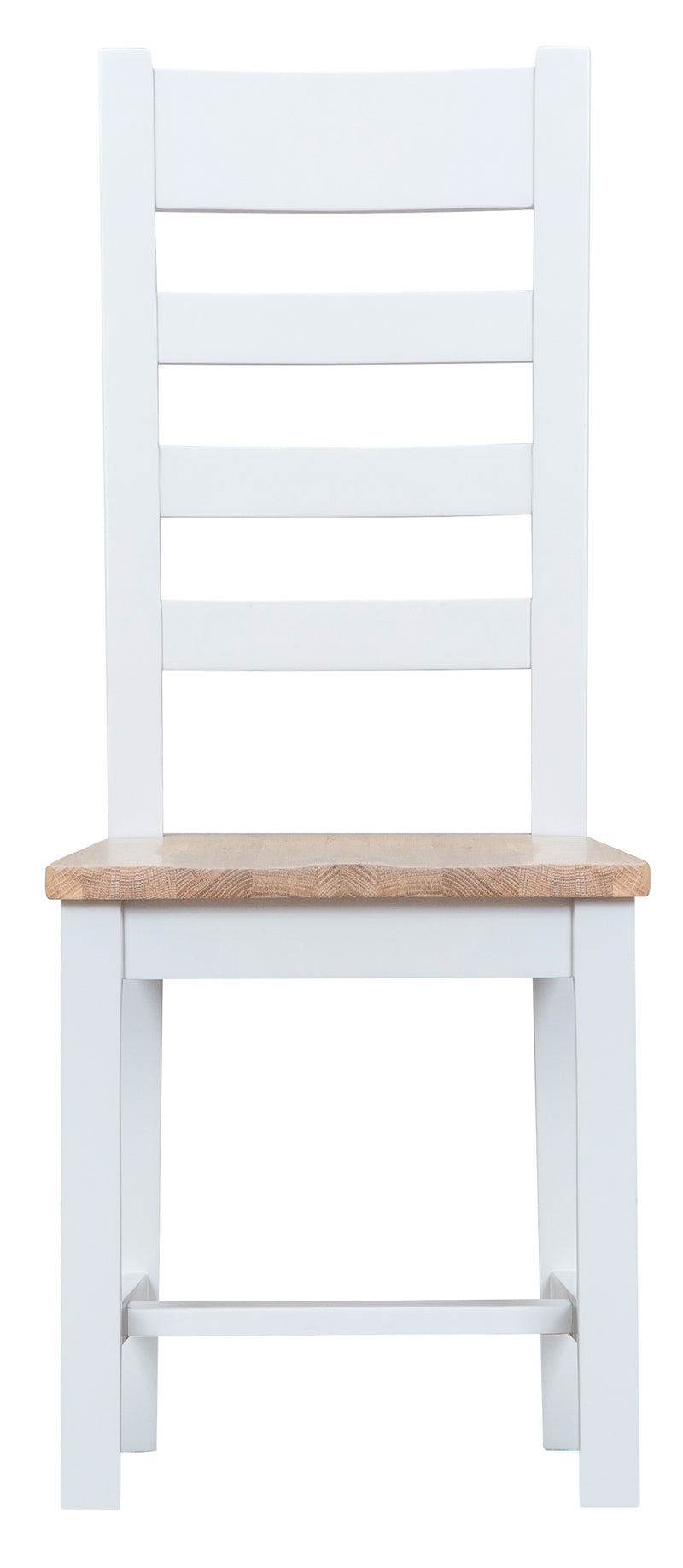 St Ives Hand-Painted White Ladder Back Chair with Wooden Seat