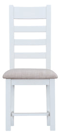 St Ives Hand-Painted White Ladder Back Chair with Fabric Seat