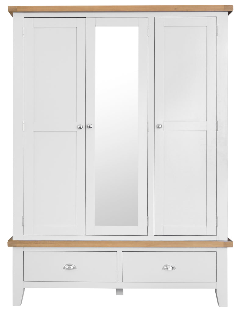 St Ives Hand-Painted White 3 Door 2 Drawer Wardrobe with Mirror