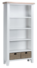 St Ives Hand-Painted White Large Bookcase with Baskets