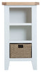 St Ives Hand-Painted White Small Narrow Bookcase with Basket
