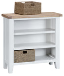 St Ives Hand-Painted White Small Wide Bookcase with Baskets