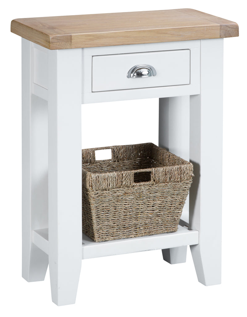 St Ives Hand-Painted White Telephone Table with Basket