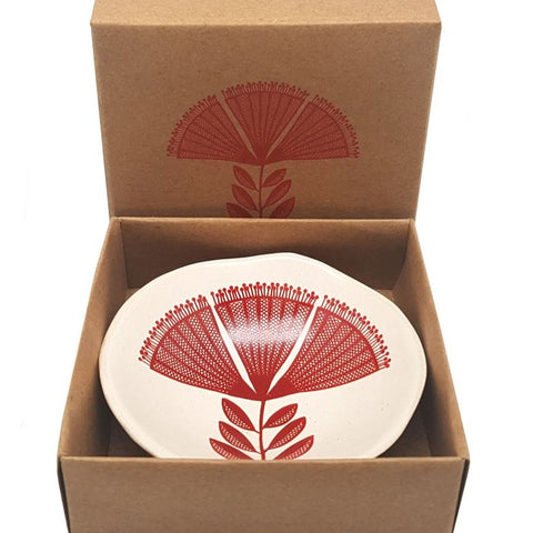 Red Pohutukawa Lace On White - 7cm Porcelain Bowl