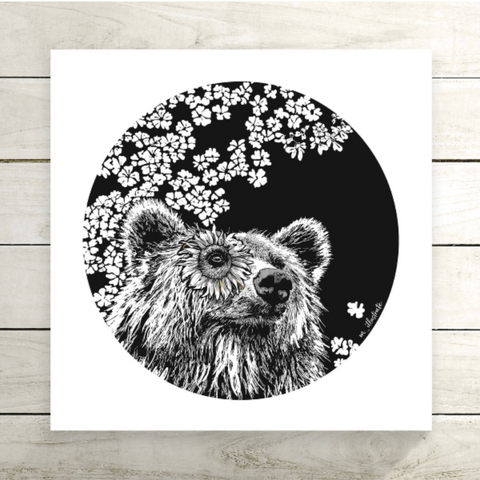 Sunflower Bear Art Print