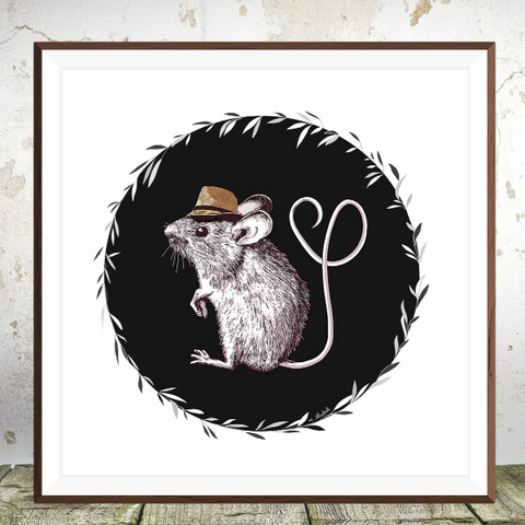 Fedora Love Mouse Art Print