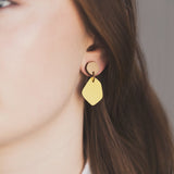 Rimu wood stud with Coloured Laminate Hanging earrings