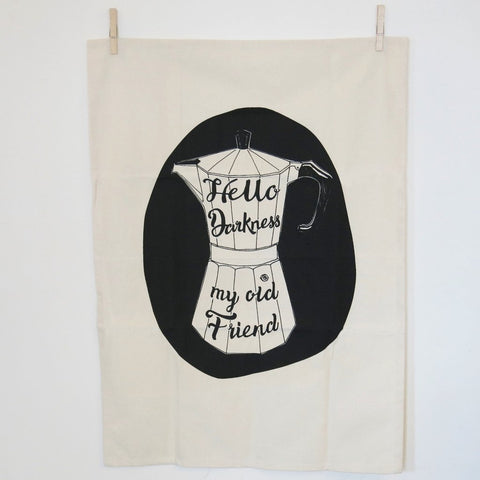 'Hello Darkness' Coffee Print Tea Towel