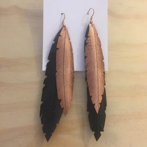 Inner bike tube Feather earrings